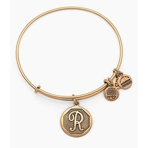 "Alex and Ani gold bangle bracelet with ""R"" charm"